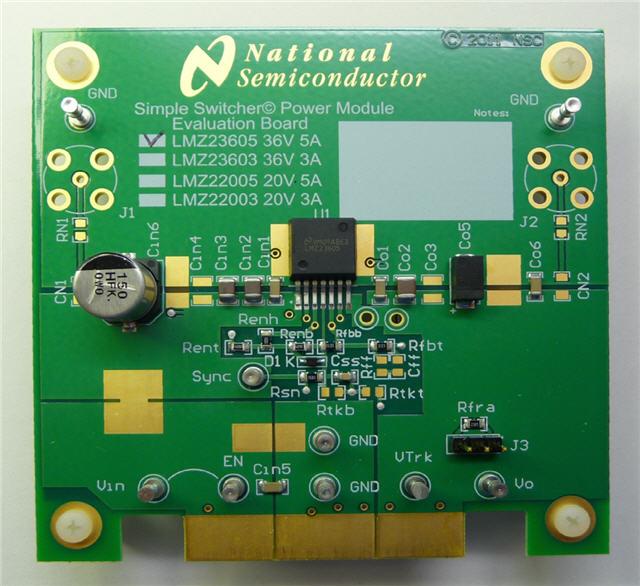 具有 20v 最大输入电压的 5a simple switcher 电源模块评估板